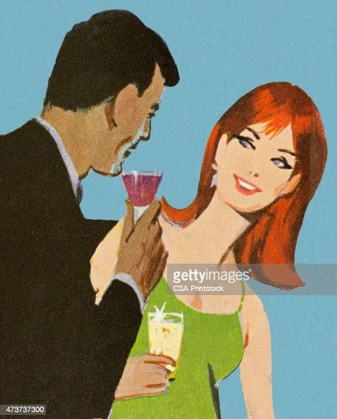 man and woman having drinks - flirting stock illustrations, clip art, cartoons, & icons