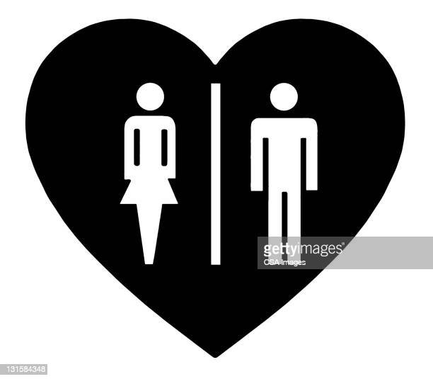 man and woman heart - heart symbol stock illustrations