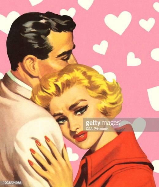 ilustrações de stock, clip art, desenhos animados e ícones de man and woman hugging - loira