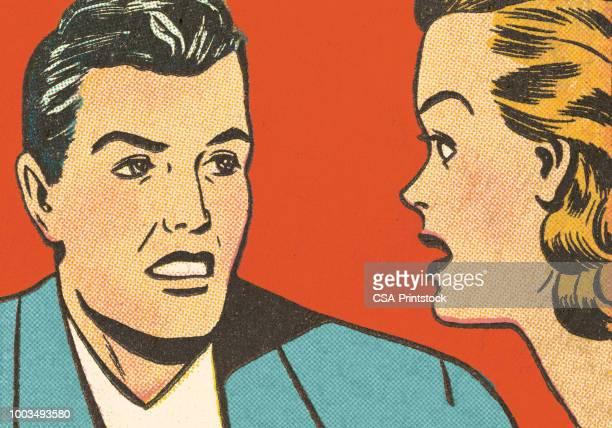 ilustraciones, imágenes clip art, dibujos animados e iconos de stock de hombre y mujer  - uncertainty