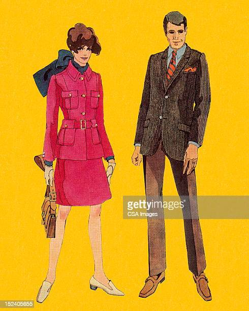 man and woman - jacket stock illustrations