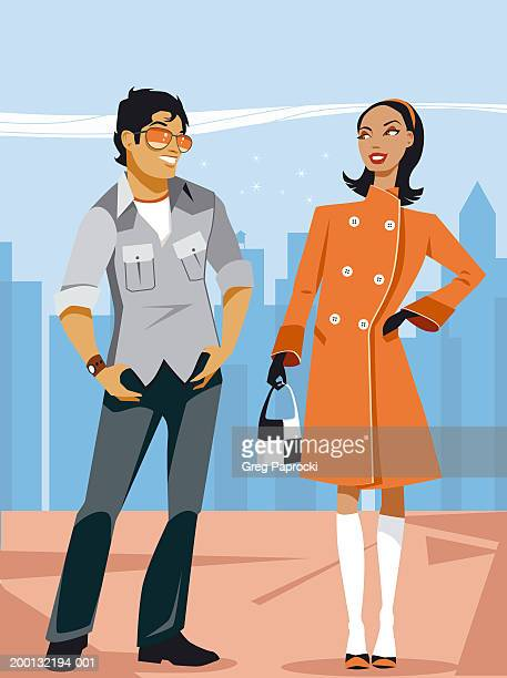 ilustrações de stock, clip art, desenhos animados e ícones de man and woman in street looking at one another - cabeloliso
