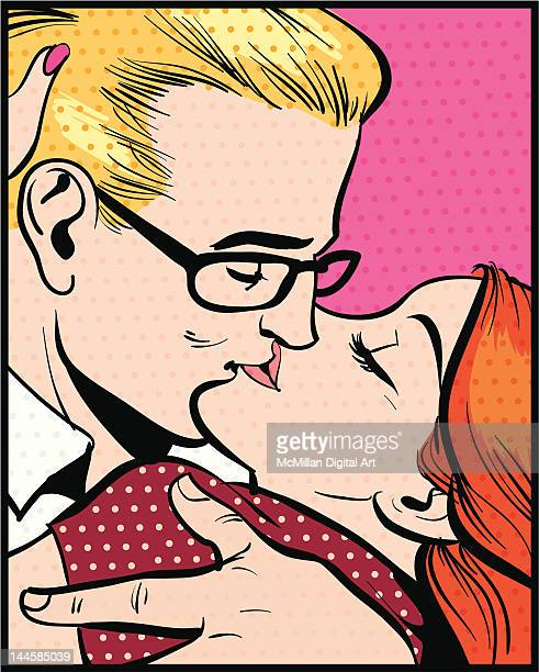 man and woman kissing - kissing on the mouth stock illustrations, clip art, cartoons, & icons
