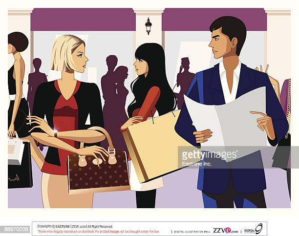 man and woman looking each other, women in background - other stock illustrations, clip art, cartoons, & icons