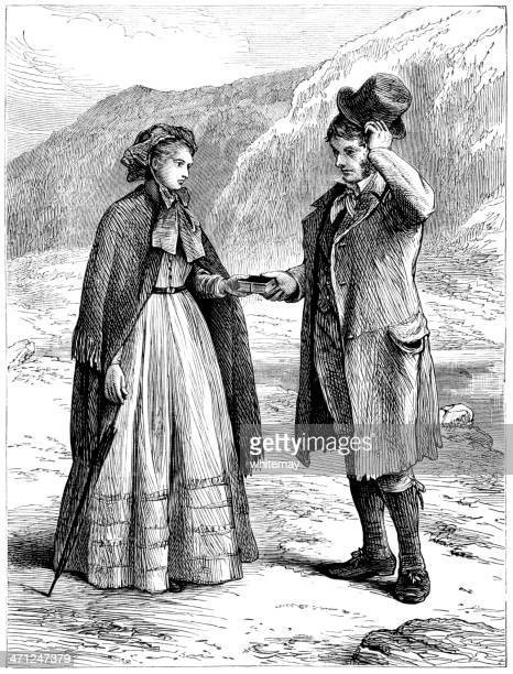 man and woman meeting on a country road (victorian illustration) - bonnet stock illustrations, clip art, cartoons, & icons