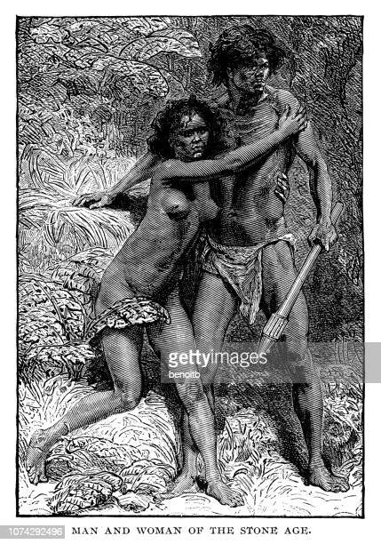 man and woman of the stone age - paleolitico stock illustrations