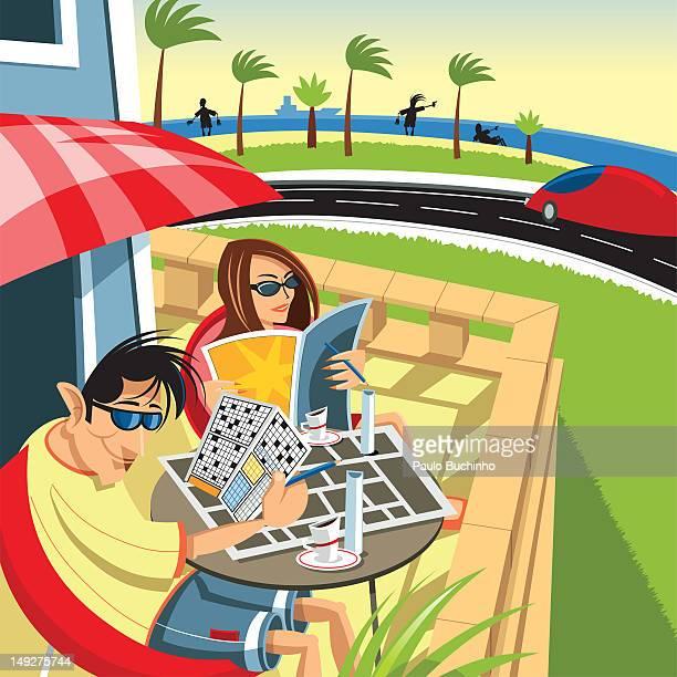 ilustrações de stock, clip art, desenhos animados e ícones de a man and woman on a patio at a beach resort - buchinho