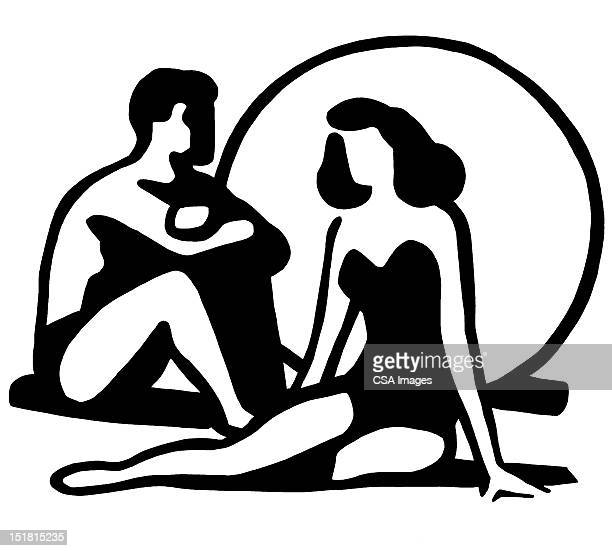 man and woman on beach - couple relationship stock illustrations
