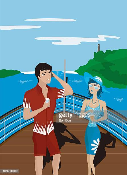 A man and woman on the deck of a boat