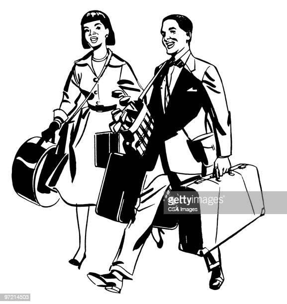 man and woman on vacation - 観光客点のイラスト素材/クリップアート素材/マンガ素材/アイコン素材