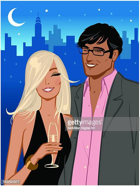man and woman out on town, night - eyes closed stock illustrations, clip art, cartoons, & icons