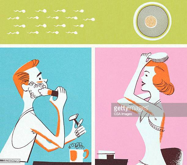 Man and Woman Primping and Sperm and Egg