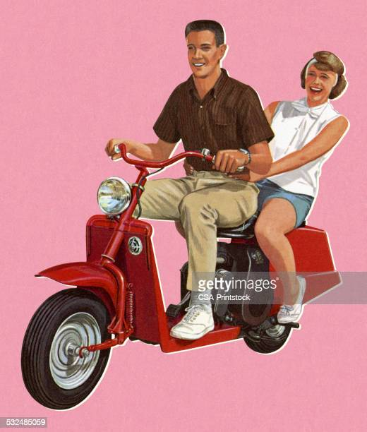 Man and Woman Riding a Scotter