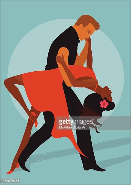 man and woman salsa dancing - salsa dancing stock illustrations, clip art, cartoons, & icons
