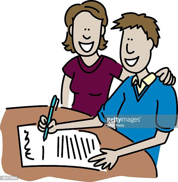 a man and woman signing a contract - legal document stock illustrations, clip art, cartoons, & icons