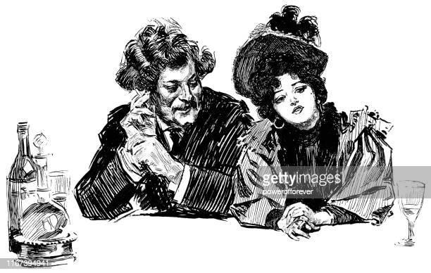 illustrations, cliparts, dessins animés et icônes de homme et femme s'asseyant à un bar à paris, france - 19ème siècle - café établissement de restauration