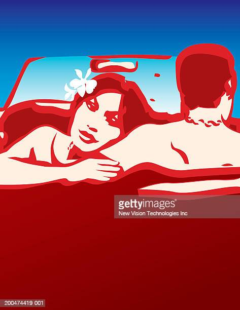 man and woman sitting in convertible car, rear view - domestic car stock illustrations, clip art, cartoons, & icons