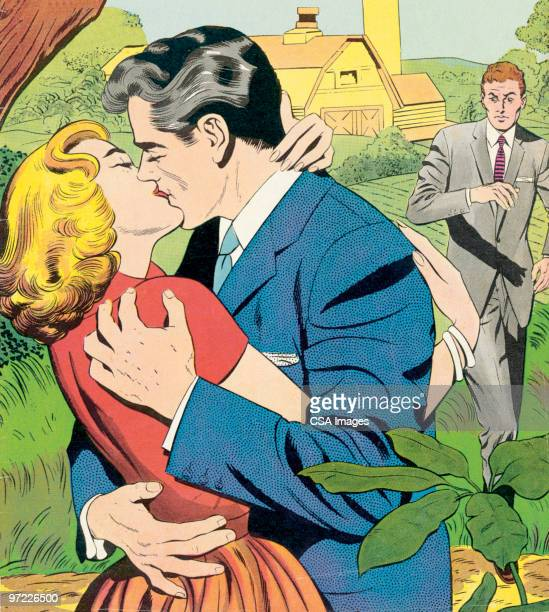 man and woman sneaking a kiss - seduction stock illustrations, clip art, cartoons, & icons