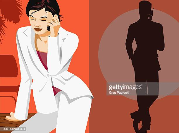Man and woman speaking by cellular phone