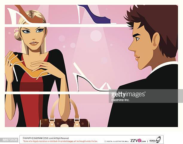 ilustraciones, imágenes clip art, dibujos animados e iconos de stock de man and woman standing by shoe shelf - display cabinet