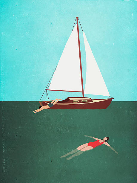 Man and woman swimming in sea by boat against clear sky