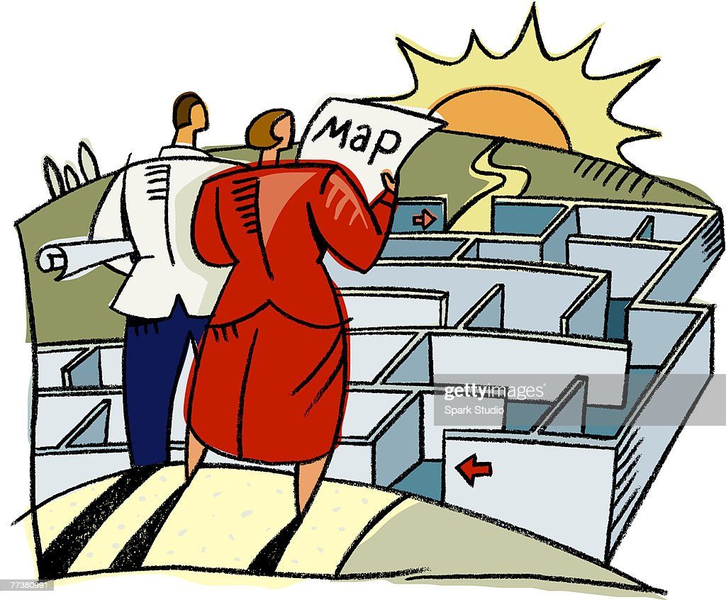 A man and woman using a map to navigate through a maze : Illustration