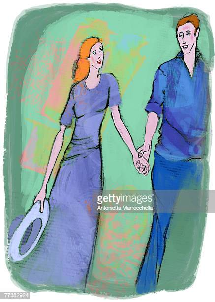 A man and woman walking hand in hand