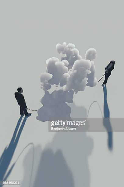 man and woman walking their clouds - access control stock illustrations, clip art, cartoons, & icons