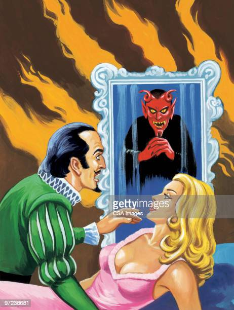 Man and Woman With Devil in Background