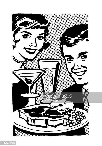 Man and Woman With Food and Drink