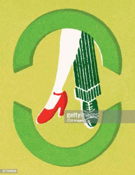 illustrations, cliparts, dessins animés et icônes de man and woman's feet - danse de salon