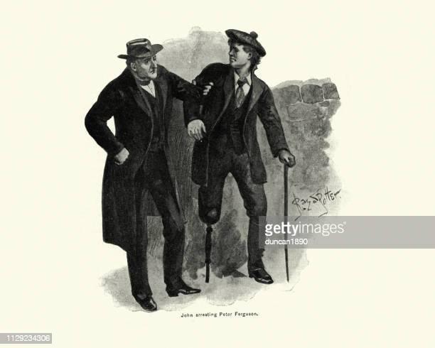 Hombre de arrestar a un hombre con una pata de palo, victoriano