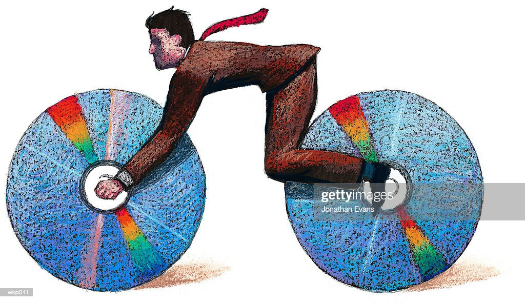 Man as CD Bicycle : Stockillustraties