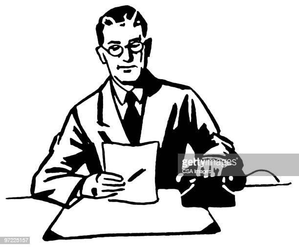 man at desk - report stock illustrations