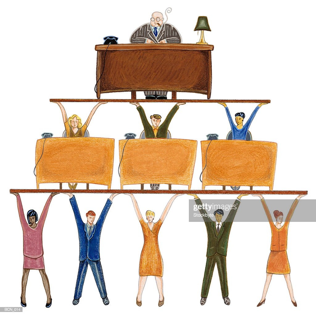 Man at desk supported by pyramid structure of people : stock illustration