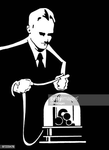 man at machine - 紙テープ点のイラスト素材/クリップアート素材/マンガ素材/アイコン素材