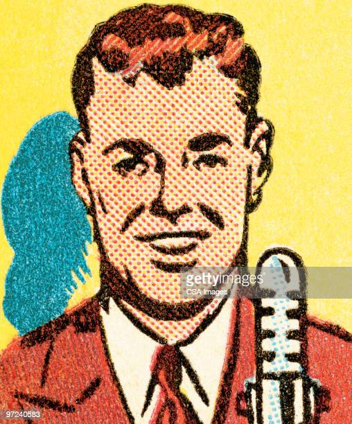 man at microphone - report stock illustrations