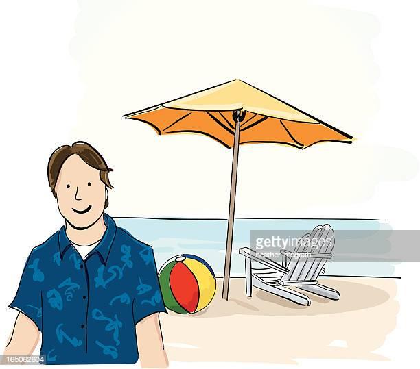man at the beach - hawaiian shirt stock illustrations