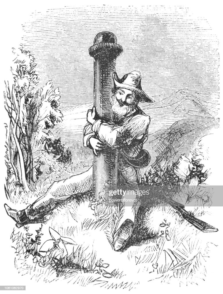 Man at the Maine, New Hampshire and Quebec Tri-point (19th Century) : Stock Illustration
