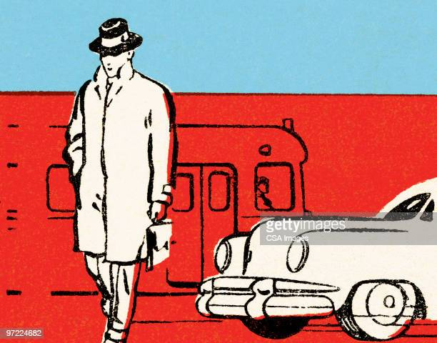 man at train station - road marking stock illustrations