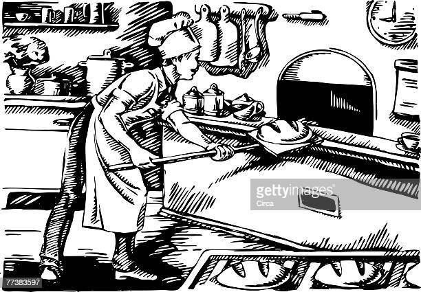 illustrations, cliparts, dessins animés et icônes de man baking bread in an old fashioned oven black and white - boulanger