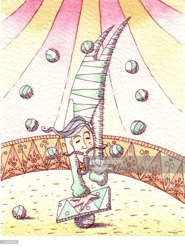 A man balancing on a beam while juggling balls : Illustration
