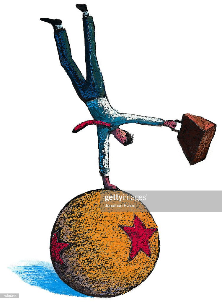 Man Balancing on Circus Ball : Stock Illustration