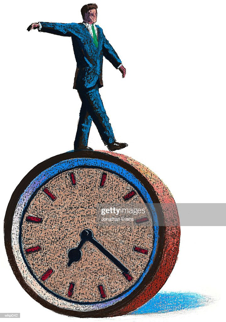 Man Balancing on Clock : Stock Illustration