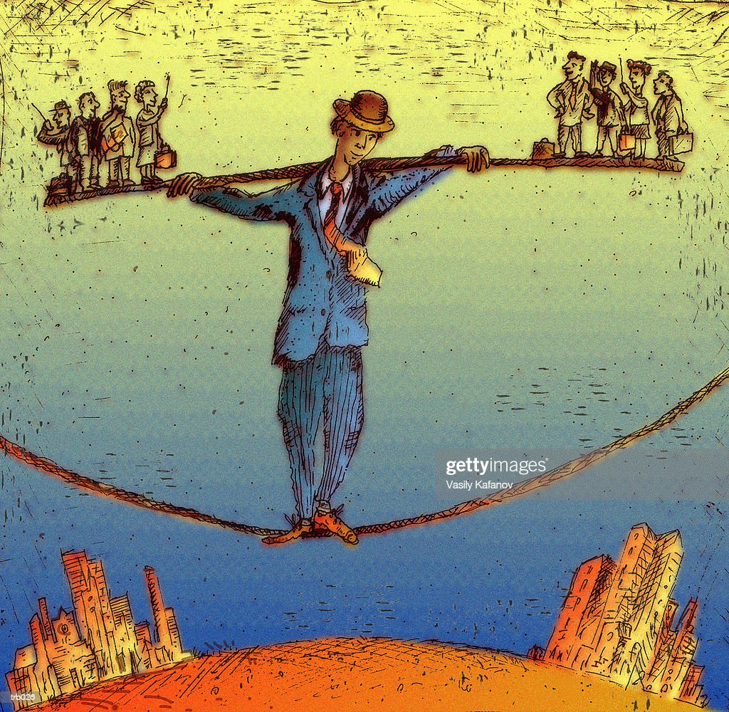 Man Balancing on Highwire : Stock Illustration