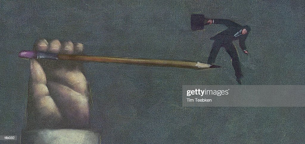 Man Balancing on Pencil Point : Stockillustraties