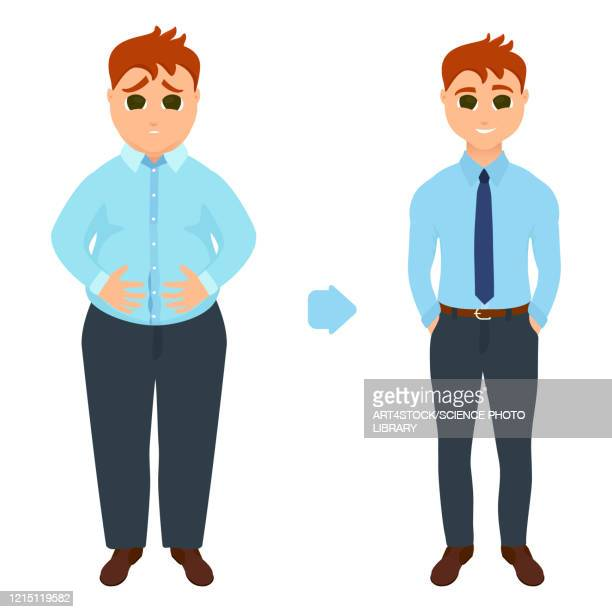 man before and after weight loss, illustration - anticipation stock illustrations