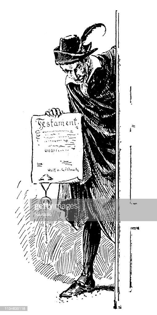 Man behind door holding testament document : stock illustration