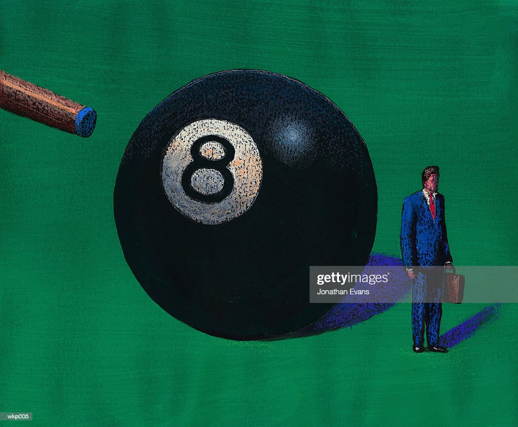 Man Behind Eight Ball : Stock Illustration