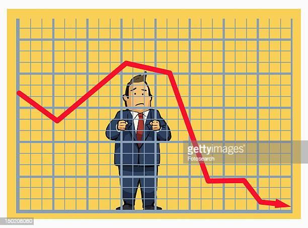 Man behind stock chart bars